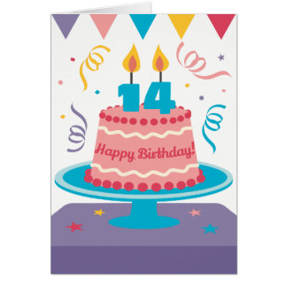 14th Birthday Cake Card
