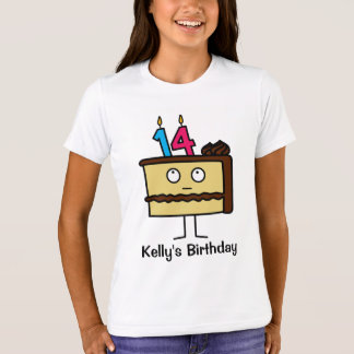 14th Birthday Cake with Candles T-Shirt
