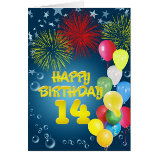 14th Birthday card with fireworks and balloons