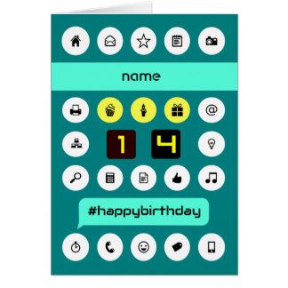 14th birthday computing icons add name greeting card