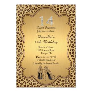 "14th Birthday invitation, numbers diamonds,Cheetah 5"" X 7"" Invitation Card"