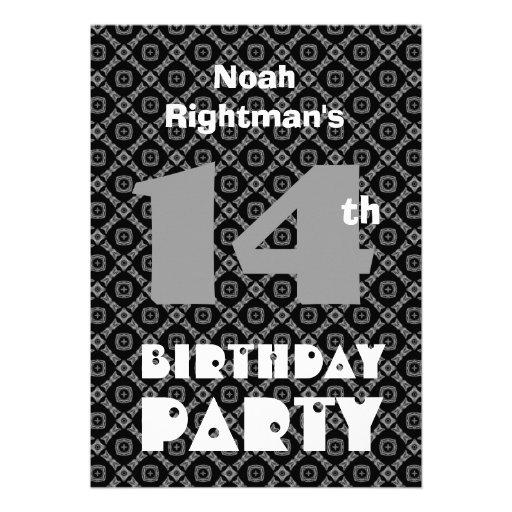 14th Birthday Modern Teen Black Diamonds W703 Custom Announcements
