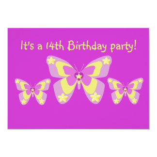 14th Birthday Party Invitation, Butterflies Card