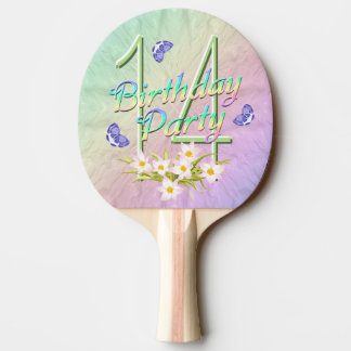 14th Birthday Party Rainbow and Butterflies Ping-Pong Paddle