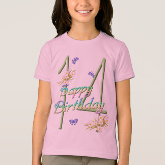 14th Birthday Shirt with Rainbows and Butterflies