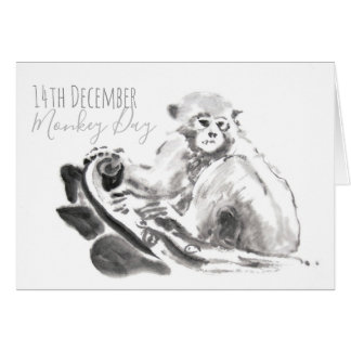 14th December World Monkey Day watercolor Card
