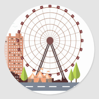 14th February - Ferris Wheel Day Classic Round Sticker