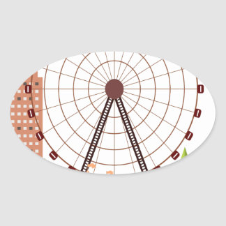 14th February - Ferris Wheel Day Oval Sticker