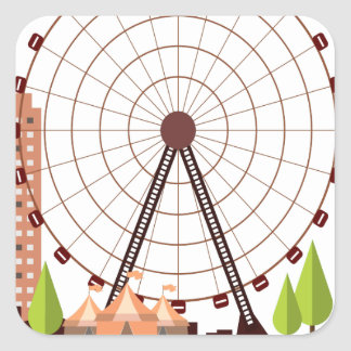 14th February - Ferris Wheel Day Square Sticker