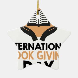 14th February - International Book Giving Day Ceramic Ornament