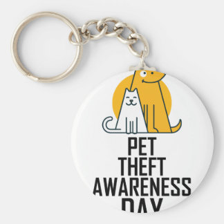 14th February - Pet Theft Awareness Day Basic Round Button Keychain