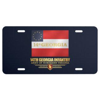 14th Georgia Infantry License Plate