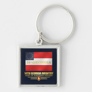 14th Georgia Infantry Silver-Colored Square Keychain
