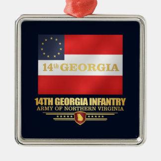 14th Georgia Infantry Silver-Colored Square Ornament