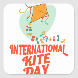 14th January - International Kite Day Square Sticker