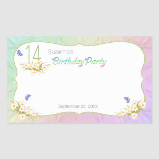 14th Rainbow and Butterflies Birthday Party Rectangular Stickers
