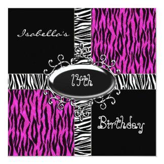 "14th Teen Birthday Wild Pink Animal Black 5.25"" Square Invitation Card"