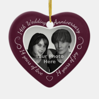 14th Wedding Anniversary Photo Ceramic Ornament