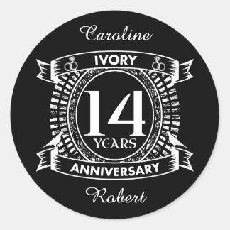 14TH wedding IVORY anniversary Classic Round Sticker