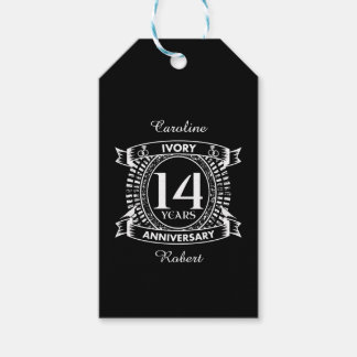 14TH wedding IVORY anniversary Pack Of Gift Tags