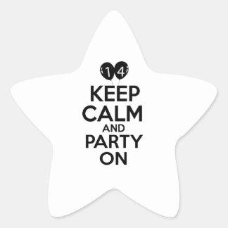 14th year birthday designs star sticker