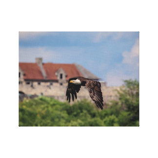 14x11 Bald Eagle passing Fort Ticonderoga Canvas Print