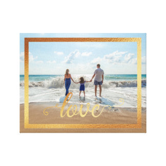 14x11 Love Typography with Gold Frame Canvas Print