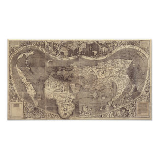 1507 Martin Waldseemuller World Map Poster