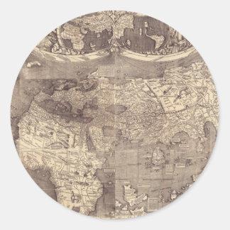 1507 Martin Waldseemuller World Map Round Sticker