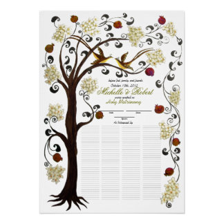 """150 guests - Ivory Tree of Life Quaker 28""""x20"""" Poster"""