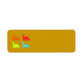 15562-dino-icons-vector ORANGE RED YELLOW BLUE DIN Custom Return Address Label