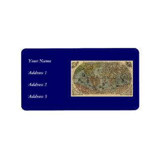 1565 Ferando Berteli Fernando Bertelli World Map Personalized Address Label