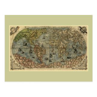 1565 Ferando Berteli (Fernando Bertelli) World Map Postcard