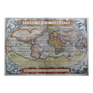 1572 World Map Poster