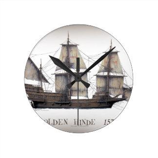 1578 Golden Hinde ship Round Clock