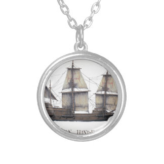 1578 Golden Hinde ship Silver Plated Necklace