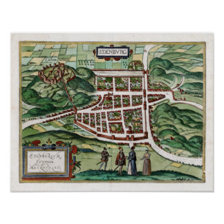 1580 Edinburgh Map Poster