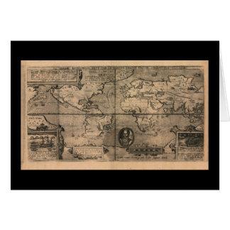 1581 Antique World Map by Nicola van Sype Card