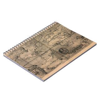 1581 Antique World Map by Nicola van Sype Spiral Notebooks