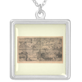 1581 Antique World Map by Nicola van Sype Silver Plated Necklace