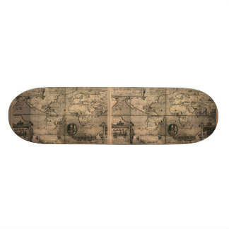 1581 Antique World Map by Nicola van Sype Skate Board Deck