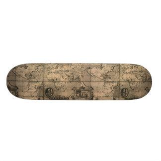 1581 Antique World Map by Nicola van Sype Skateboard Decks