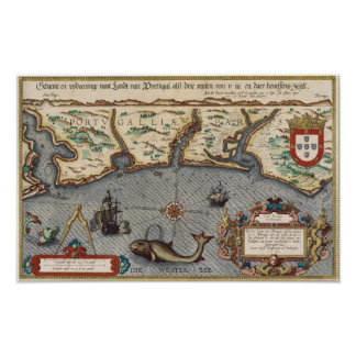 1584 Map of Portugal Poster