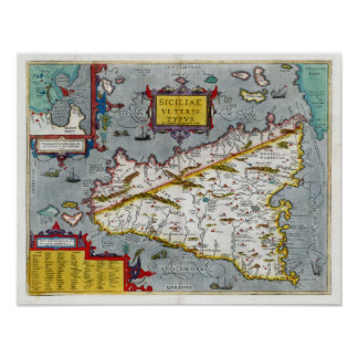 1592 Sicily Renaissance Map Poster