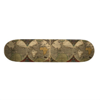1595 Vintage World Map by Jodocus Hondius Custom Skateboard