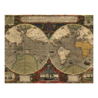 1595 Vintage World Map by Jodocus Hondius Flyers