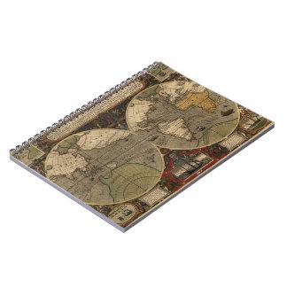 1595 Vintage World Map by Jodocus Hondius Notebooks