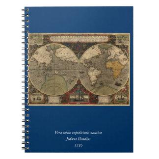 1595 Vintage World Map by Jodocus Hondius Spiral Note Books