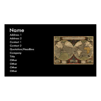 1595 Vintage World Map by Jodocus Hondius Pack Of Standard Business Cards
