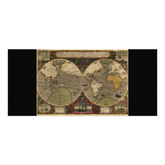 1595 Vintage World Map by Jodocus Hondius Personalized Rack Card